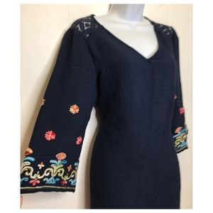 Dresses - Blue Bohemian Bell Sleeve Shift Dress embroidered